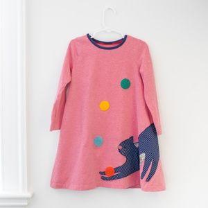 Mini Boden Patchwork Dress - Pink Juggling Cat 5-6